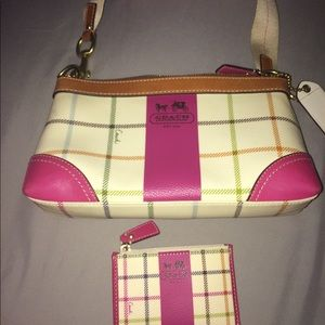 Coach winter white plaid purse and wallet